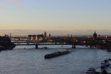 View of the river Rhine from Neustadt-Nord, Cologne in the morning hours of November